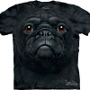 Big Face Black Pug Dog Face T-Shirts