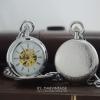 นาฬิกาพกฝาทึบกลไกไขลานตัวเรือนสีเงิน เปิด2ด้าน double Hunter- Classic Luxury Lace Copper Art ทำจากทองแดง
