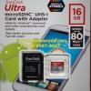 Sandisk MicroSD Ultra 16GB 80MB/s (533X)(SIS/Synnex)