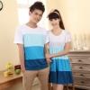 พร้อมส่ง ชุดคู่น่ารักๆ ผู้หญิง-เดรสสีฟ้าขาว / ผู้ชาย-เสื้อทีเชิ๊ตคอกลม