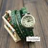 นาฬิกาหนัง พันข้อมือ 3 รอบ-สีเขียว (ฟรีค่าจัดส่ง EMS)