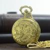 นาฬิกาพกลายมงคลมังกรทอง เรือนสีทองแก้มดำ ระบบถ่านควอทซ์ (พร้อมส่ง)