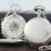 นาฬิกาพกล็อคเก็ตฝาเรียบสีเงินด้าน ระบบ ไขลาน หน้าปัดกลไก