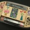 ชุดตัวปั๊ม floral wooden stamp set ตัวด้ามไม้พร้อม หมึก twin color