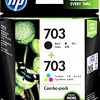 HP 703 INK CARTRIDGE COMBO PACK BLACK/TRICOLOR (แท้) F6V32AA