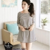 Dress125 - เดรสแฟชั่น เดรสลายขวางสีขาวดำ อก 38 ((เดรสแฟชั้นพร้อมส่ง))