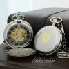 นาฬิกาพก Pocket Watch พรีเมียม ตัวเรือนสีเงินเงา ระบบกลไกไขลาน เปิด2ด้านทั้งฝาหน้า-หลัง