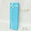 กล่องของขวัญสีฟ้า แบบยาว แต่งริบบิ้นทอง