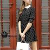 Dress126 - เดรสแฟชั่น เดรสลายจุด จั้มเอว สีดำ ปกขาว ด้านบนมีกระดุม อก 35นิ้ว ((เดรสแฟชั้นพร้อมส่ง))