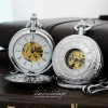 นาฬิกาพกกลไกไขลานพรีเมียมเปิด2ด้าน(ฝาหน้า-ฝาหลัง)สีเงินฝาหน้าโรมันฝาหลังเรียบ