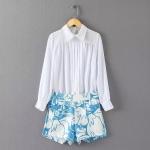 [Preorder] เซ็ทเสื้อแขนยาวแฟชั่นสีขาว + กางเกงขาสั้นลายดอกไม้ สีฟ้า (ไซส์ S M L) MICN 2015 summer new women's fashion pleated waist print long-sleeved shirt + shorts leisure suits