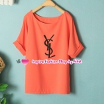เสื้อแฟชั่นแขนสั้นสกรีนลายสีส้ม Summer new female Korean fashion solid color letters loose wild chiffon shirt casual temperament shirt