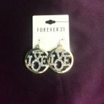 F21 bling bling love dangle earrings
