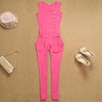 [Preorder] จั๊มสูทแฟชั่นแขนกุดขายาวสไตล์ยุโรป สีชมพู 2013 Korean version of the Slim Chiffon Siamese pants sleeveless high waist single breasted