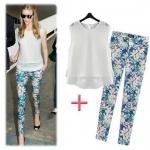 [Preorder] เซ็ทเสื้อแขนกุด + กางเกงขายาวลายดอกไม้สีฟ้า แบรนด์ ZARA (ไซส์ S M L) ZARA MICN women's 2014 summer European leg of the new spell chiffon knit T-shirt + printing repair legs leisure suit