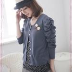 [Preorder] คาร์ดิแกนแฟชั่น (เสื้อคลุมแขนยาว) ประดับโบว์สีน้ำเงิน spring new special attached butterfly knot pin princess sleeve short jacket
