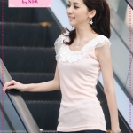 [Preorder] เสื้อแฟชั่นแขนกุดระบายลูกไม้สีชมพู spring and summer pearl lace collar bottoming Vest (6 colors)