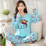 [Preorder] ชุดนอนแฟชั่น Hello Kitty เสื้อแขนยาวกางเกงขายาว สีฟ้า (ฟรีไซส์) Fall hellokitty cat pajamas female summer hello kitty cat cartoon cotton long-sleeved tracksuit suit