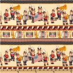 Yankee Doodle Bear Stars & Stripes Border Cream
