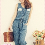 จั๊มสูทยีนส์แขนกุดขายาว Spring and summer of 2012 installed new Japanese roses pocket waist lace piece denim jumpsuit pants