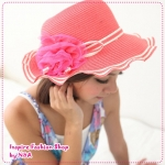 [Preorder] หมวกแฟชั่นปีกกว้างประดับดอกไม้สีชมพู 2012 new summer special romantic bud mesh yarn the admiral knot hat