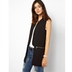[Preorder] เสื้อคลุมแจ๊กเก็ตแฟชั่นแขนกุดแบรนด์ ASOS สีดำ 2013 autumn new zipper stitching in the same paragraph ASOS Long Slim suit jacket female waistcoat vest