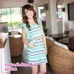 [Preorder] เดรสแฟชั่นแขนสั้นลายขวางสีเขียว round neck colors of the Korean version of the 2012 Summer Slim was thin color stripes waisted chiffon ocean dress
