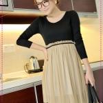 เดรสแขนยาวสีดำกระโปรงสีน้ำตาล JackGrace light ~ perfect stitching ~ Cinch spinning dresses two colors