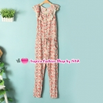 จั๊มสูทขายาวลายดอกไม้สีชมพู Summer new female fashion Korean version of sweet lace collar casual piece pants Floral feet jumpsuit Code