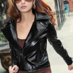 [Preorder] เสื้อแจ็กเก็ตหนังแฟชั่นแขนยาวซิปหน้า สีดำ 2012 Flax lapel Slim leather motorcycle jacket for women leather