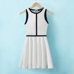 [Preorder] เดรสแฟชั่นสไตล์ยุโรปแขนกุด สีขาว Europe station 2013 summer new OL temperament mixed colors black and white vest skirt Slim was thin dress big