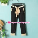 กางเกงแฟชั่นขาสามส่วนสีดำมีโบว์ผูกที่เอว Summer new female Korean version with waist belt wave curling slacks wild Slim-seventh of slacks