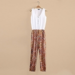 [Preorder] จั๊มสูทแฟชั่นแขนกุดสไตล์ยุโปรแบรนด์ Lily สีขาวส้ม 2013 summer new European and American women's HM spell color retro print loose chiffon piece pants harem pants jumpsuit