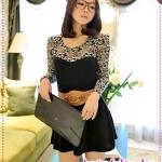 เดรสแขนยาวแฟชั่นสีดำ JackGrace aesthetic ~ lace stitching umbrella skirt knitting