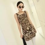 [Preorder] เดรสแฟชั่นแขนกุดสำหรับสาวไซส์เล็ก ลายเสือดาว สีน้ำตาล 2013 summer new super wild multicolor Korean Women Long Vest