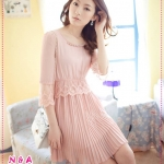 เดรสชีฟองแขนสามส่วนสีชมพู Spring and summer of 2012 the new Women ladies lace waist pleats in the sleeve chiffon dress