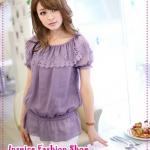 [Preorder] เสื้อแฟชั่นแขนสั้นตุ๊กตาระบายปกฉลุลายสีม่วง Lotus leaf burning flowers chiffon blouse Tokyo Fashion 100%