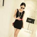 [Preorder] เดรสแฟชั่นแขนกุดสำหรับสาวไซส์เล็ก สีดำ 2013 summer new super wild multicolor Korean Women Long Vest