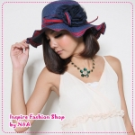[Preorder] หมวกแฟชั่นปีกกว้างประดับดอกไม้สีน้ำเงิน 2012 new summer special romantic bud mesh yarn the admiral knot hat