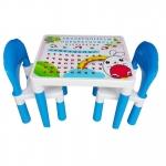 สีฟ้า Inter Steel ชุดโต๊ะและเก้าอี้ เตรียมอนุบาล โต๊ะ ก-ฮ 1 ตัว + เก้าอี้ 2 ตัว ชุดโต๊ะเขียนหนังสือ/ทำกิจกรรมเด็ก ผลิตจากพลาสติกเนื้อดี แข็งแรง สามารถประกอบได้ง่าย ■ เหมาะกับการวางไว้ตามมุมต่างๆ ทั้งในบ้านและนอกบ้าน