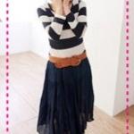 เดรสแฟชั่นแขนยาวลายขวางกระโปรงสีน้ำเงิน Spring and summer of 2012 the new lady stripes to fight the big skirt dress long-sleeved dress with belt