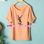 เสื้อแฟชั่นแขนสั้นสกรีนลายสีส้มอ่อน Summer new female Korean fashion solid color letters loose wild chiffon shirt casual temperament shirt