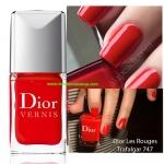 ตกแต่งเล็บ Dior Vernis Nail Lacquer สี 747Trafalgar (ไซด์ขายจริงไม่มีกล่อง) สีแดงอมส้มสว่าง เนือเบาแต่ให้การเคลือบเงาที่กระจายแสงได้ดี เนื้อสีแน่นแต่ไม่หนักหรือหนาเลย