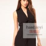 [Preorder] จั๊มสูทแฟชั่นผ้าชีฟองคอวี สไตล์ยุโรปโบว์ผูกที่ปกเสื้อ สีดำ สำหรับสาวไซส์เล็ก - สาวไซส์ XXL V-neckline tie waist sleeveless solid color chiffon one-piece piece dress shorts