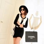 [Preorder] เดรสทำงานแฟชั่นแขนยาวสำหรับสาวไซส์เล็ก (ไซส์ S และไซส์ M) สีขาวดำ 2013 Hitz Korean Women Slim hit the color long-sleeved dress temperament