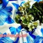 ผ้าพันคอ ผ้าคาดผมเนื้อไหมญี่ปุ่น : ลายผีเสื้อสีน้ำเงิน-ขาว