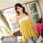MAYUKI เสื้อแฟชั่นแขนกุดตัดต่อด้วยผ้าลูกไม้ ช่วงอกแต่งระบายเป็นชั้นๆด้วยซีฟองเกาหลีสีเหลือง