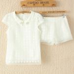 [Preorder] เซ็ทเสื้อแขนสั้นสีขาว + กางเกงขาสั้นสีขาวลายเดียวกับเสื้อ (ไซส์ S M L) Japanese doll collar handmade Rhinestone Eugen yarn ladies T-shirt + shorts shorts summer new two-piece jacket