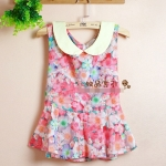 [Preorder] เสื้อแฟชั่นแขนกุดลายดอกไม้ สีชมพู Sweet summer flounced waist waist Floral Peter Pan doll collar sleeveless vest chiffon shirt tops women