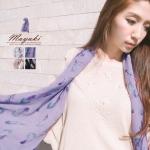 ♥♥ สีกากีกับสีม่วงพร้อมส่ง ♥♥ ผ้าพันคอลายพิมพ์สวยๆ ผ้าเนื้อดี